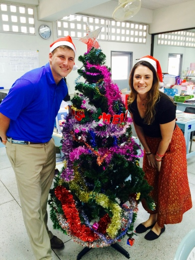 Michael and I with the English Department Christmas tree!